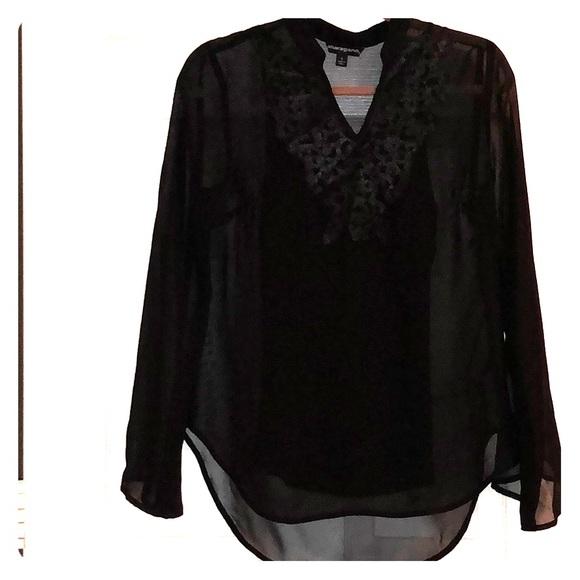 fcde95e5bb4d73 Sharagano Tops | Long Sleeve Sheer Blouse | Poshmark